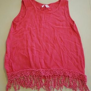 Japna Kids Girls Top Sleeveless Fringe Hem